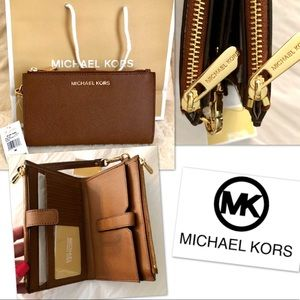 Michael KORS Wristlet Double ZIP Jet Set NWT
